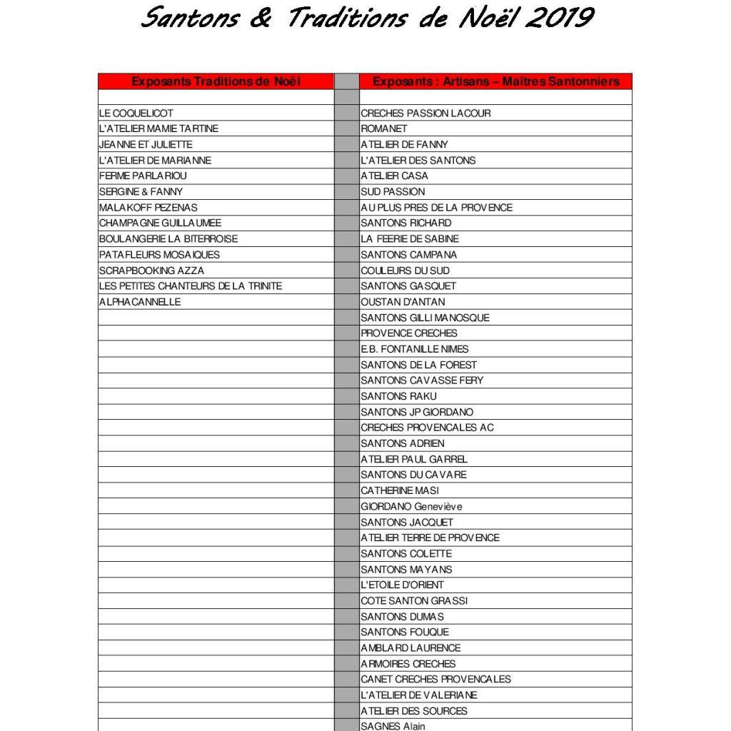 liste des exposants - salon des Santons & Tradition de Noël 2019