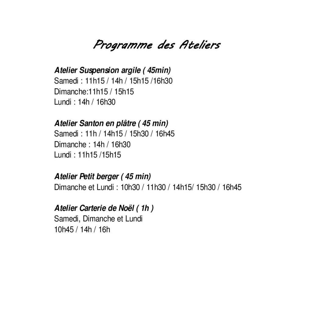 Programme ateliers - Salon des Santons & Traditions de Noël